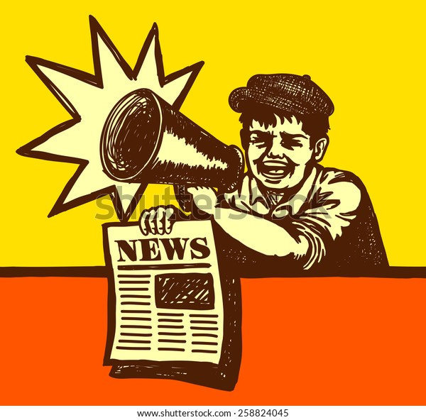 Vintage newspaper boy shouting latest news with megaphone, breaking news, extra edition