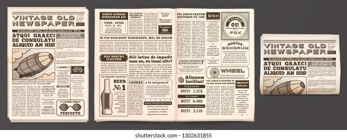 Vintage newspaper mockup. Retro newsprint pages, tabloid magazine and old news. Newspaper or journal, journalistic reportage brochure isolated 3D vector template