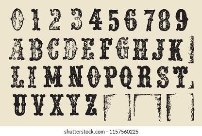 Vintage newspaper stamp alphabet letter print -  design template