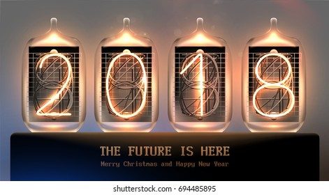 Vintage nixie tube 2018 Christmas design | Nostalgic retro lightbulbs | New Year holiday poster
