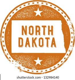 Vintage North Dakota USA State Stamp