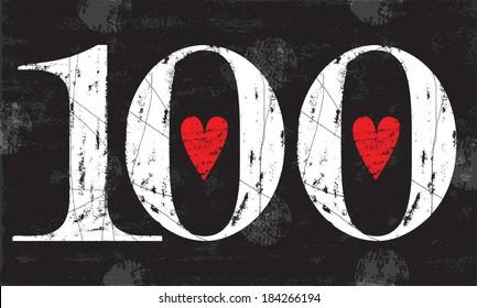 Vintage Number 100 . Vector EPS10 . Grunge effects