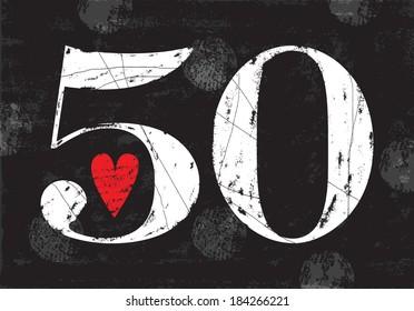 Vintage Number 50 . Vector EPS10 . Grunge effects