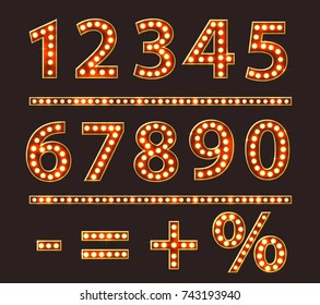 Vintage Numbers with Bulb Lamps Red Gold Light vector
