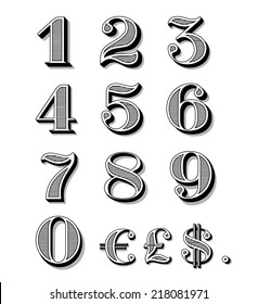 Vintage numbers set including dollar, euro, pound symbols and dot.