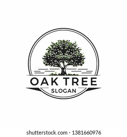 Vintage Oak Tree logo design