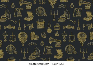 vintage objects vector graphic pattern
