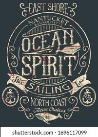 Vintage ocean spirit adventure badge vector print for boy t shirt grunge effect in separate layers