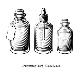 Vintage oil bottle set. Full glass bottle vector illustration.