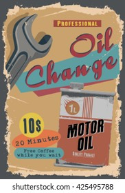 vintage oil change illustration