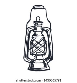 Vintage Oil Lamp Hand Drawn on White Background. Vector illustration