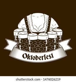 Vintage Oktoberfest banner or label with waitress in national clothes carrying six beer glasses. Oktoberfest German festival design concept in vintage style with gothic text. Vector illustration