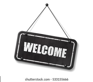 Vintage old black sign with Welcome text, Vector Illustration