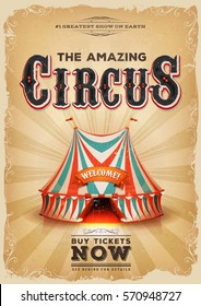 Vintage Old Circus Poster With Red And Blue Big Top/ Illustration of a retro and vintage circus poster background, with red and blue big top, elegant titles, grunge texture and floral patterns