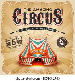 Vintage Old Circus Square Poster/ Illustration of a retro and vintage circus poster background, with red and blue big top, elegant titles, grunge texture and floral patterns