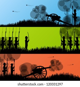 Vintage old civil war battle field warfare soldier troops and artillery cannon guns detailed silhouettes illustration collection background vector