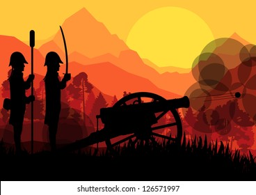 Vintage old civil war battle field warfare soldier troops and artillery cannon guns in forest mountain landscape illustration background vector