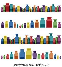 Vintage old glass jars, bottles and medicine chemistry potions colorful glassware detailed illustration collection background vector