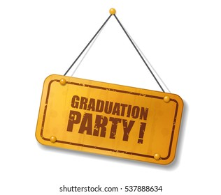 Vintage old gold sign with Graduation party text, Vector Illustration