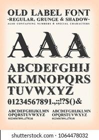 Vintage Old Label Western Font/ Illustration of a set of old western design abc typefont, in regular, grunge and shadow version, on vintage and grunge background