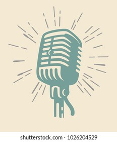 vintage old microphone on beige background. Vector