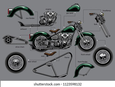 vintage old motorcycle with separated parts