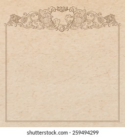 Vintage old paper texture with vector vignette with Medieval ornament, hand drawn floral decorative frame with heart and crown hold by hands, copy space emblem