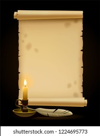 Vintage old Parchment paper scroll. Wax Candle Eps10 vector illustration.