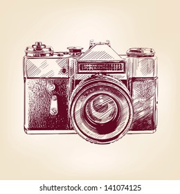 vintage old photo camera drawn vector llustration
