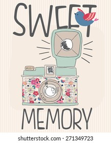 Vintage old photo camera drawn vector illustration.For t-shirt or other uses,in vector.