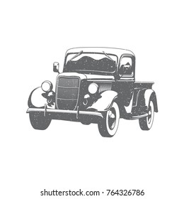 Vintage old pickup truck vector