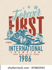 vintage old race car printing / old race car / first / world championships