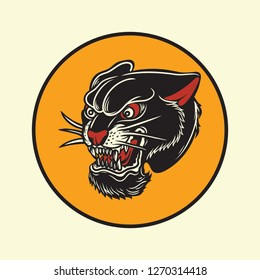 Vintage Old School American Tattoo Panther Vector Illustration