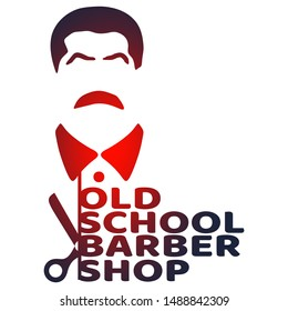 Vintage old school barber shop emblem or label. Monochrome style. Mustache man icon with scissors and text.