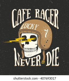 Vintage old school hand drawn styled vector label of skull in helmet. Cafe racer theme. Vector illustration.