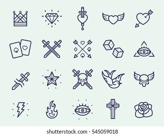 Vintage Old School Tattoo Minimal Flat Line Stroke Icon Pictogram Symbol Illustration Set Collection