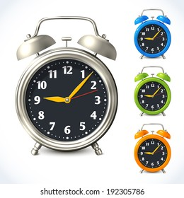 Vintage old style color and metal alarm clock watch set isolated vector illustration