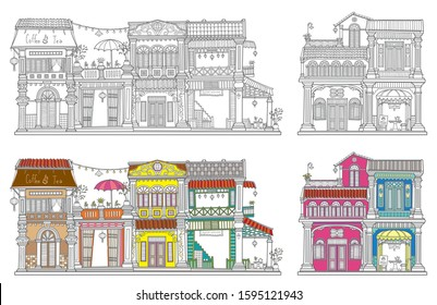 Vintage Old Styled Hand Draw. Buildings. Old town