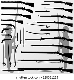 Vintage old war and hunting weapons, rifles, guns, swords, knifes, blades and soldiers detailed silhouettes illustration collection background vector
