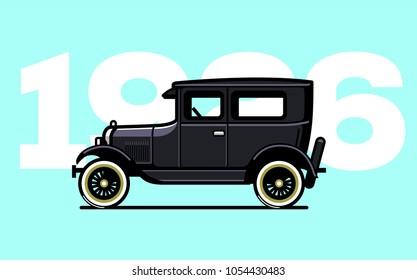Vintage oldtimer car in flat style. Vector old school automobile. Retro oldtimer car illustration