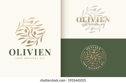 vintage olive branch logo and badge design