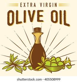 Vintage Olive Oil Label logo Badge
