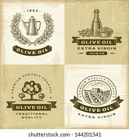 Vintage olive oil labels set. Fully editable EPS10 vector.