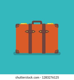Vintage orange suitcase. Vector illustration