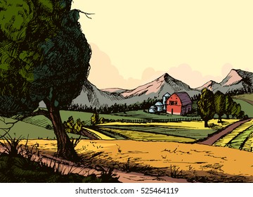 Vintage organic farm, Countryside landscape with hay, field and village. concept for any design