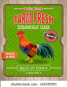 Vintage organic farm fresh rooster poster design