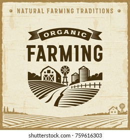 Vintage Organic Farming Label. Editable EPS10 vector illustration with clipping mask and transparency in retro woodcut style.