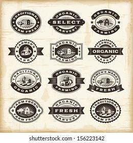 Vintage organic farming stamps set. Fully editable EPS10 vector.