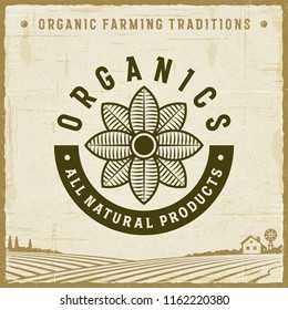Vintage Organics All Natural Products Label. Editable EPS10 vector illustration with clipping mask and transparency in retro woodcut style.
