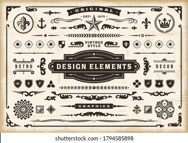Vintage Original Design Elements Set. Editable EPS10 vector illustration in retro style with transparency.